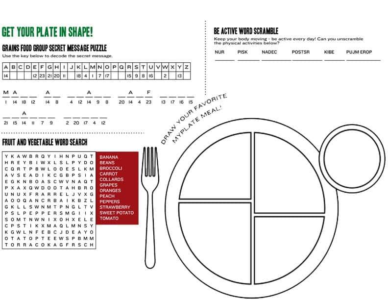 my plate worksheet