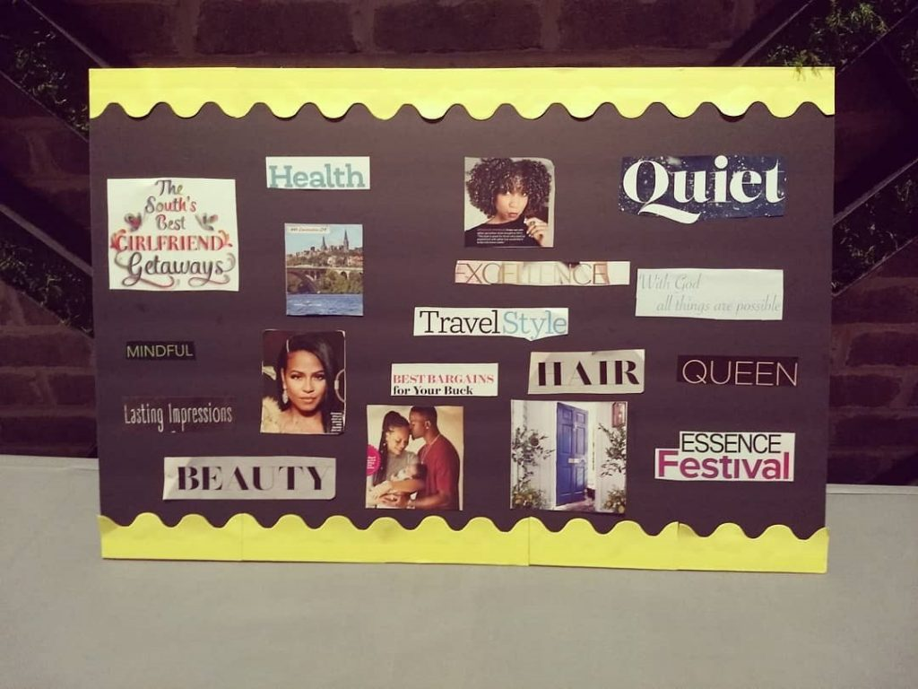 Vision board with yellow boarder