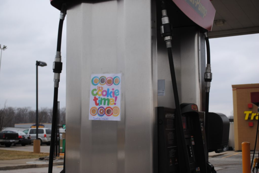 cookie sign on gas pump