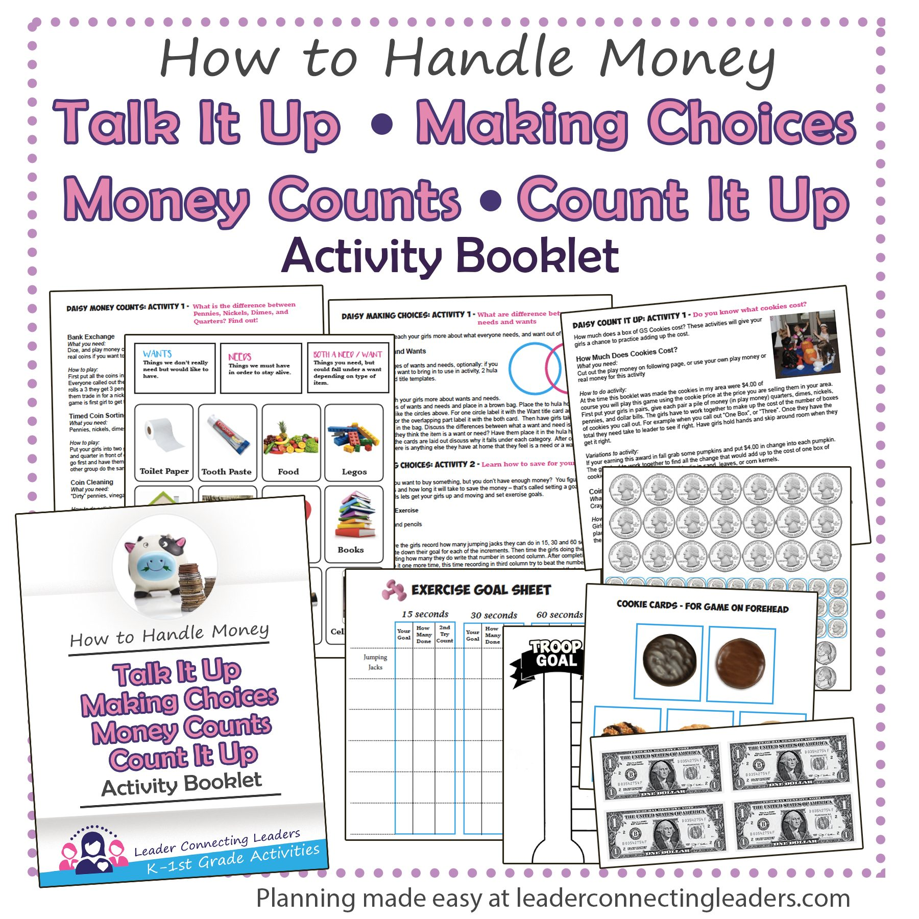 Talk It Up, Making Choices, Money Counts, Count It Up Daisy leaf activity booklet