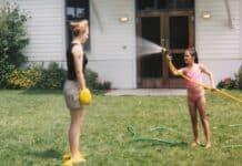 spraying a leader at summer camp